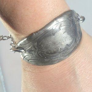 Antique Silver Cuff Bracelet Handmade Link OOAK